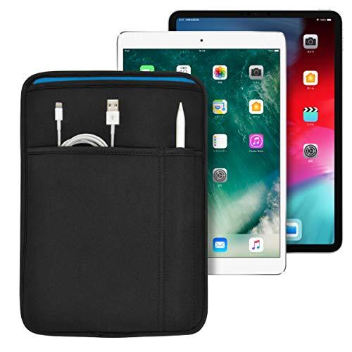 iPad 11インチ/10.9インチ/10.5インチ/10.2インチ (Pro/Air) 用 JustFit スリーブケース (ブラック/ブルー) ApplePencil や充電ケーブル等が収納出来る2つのポケット付 専用設計だからジャストフィット IPP105JFSCBB