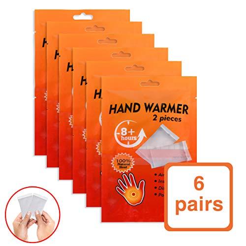 IREGRO Handwärmer, Wärmepads Hand Fuß, Taschenwärmer, Fingerwärmer, 100{2b644a3258bf19bb1cf8dc081af9159599414045e3727dbb992f1cf08cb360e8} Natürliche Inhaltsstoffe, Extra Warm, 8 Stunden Wärme, 6 Paar