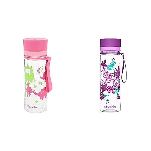 Aladdin Aveo Trinkflasche für Kids, aus Tritan-Kunststoff, 0.35 Liter, Rosa, Auslaufsicher, Wasserflasche Fahrradflasche & Aveo Trinkflasche aus Tritan-Kunststoff, 0.6 Liter, Lila, Auslaufsicher