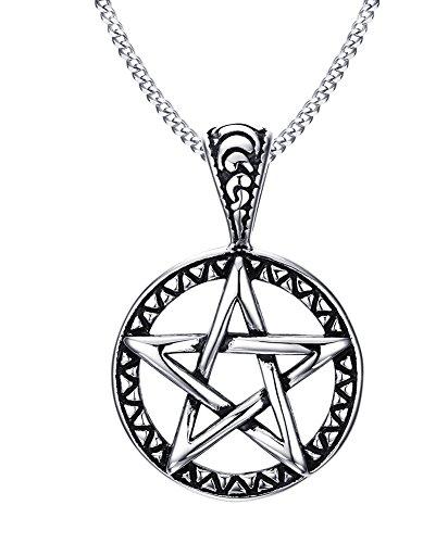 VNOX Pentagram del Acero Inoxidable de la Estrella de la Familia Collar Pendiente para los Hombres Joyería de Las Mujeres Wiccan