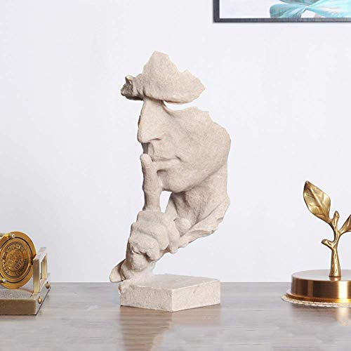 Scultura Moderna Astratta, Statua del pensatore Statue e sculture per Viso e Mano Decorazioni per la casa da Ufficio Creative Il Silenzio è Oro Statuetta Mantieni Il Silenzio Colore arenaria A 13x12