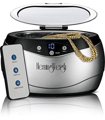 Jewelry Cleaner with Remote Control, Professional Ultrasonic Cleaner for Jewelry, Accessories, Coins, Tools, Dentures, 20 Ounces, Silver, HemingWeigh