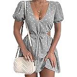 SLYZ Vestidos De Verano para Mujer con Cuello En V, Estampado De Lunares, Cintura Hueca, Vestido De Manga Corta para Mujer