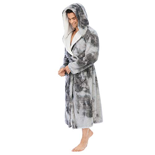 Tie-Dye Colorful Robe for Men Coral Fleece Double Thick Loose Bathrobe Hooded Big and Tall Bathrobe Home Robes (XL, Gray)