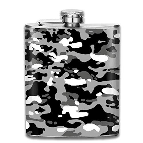Petaca de acero inoxidable portátil de 7 onzas con diseño de camuflaje urbano, para licor, whisky, vino, para escalada, camping, barbacoa, fiesta, bebedor