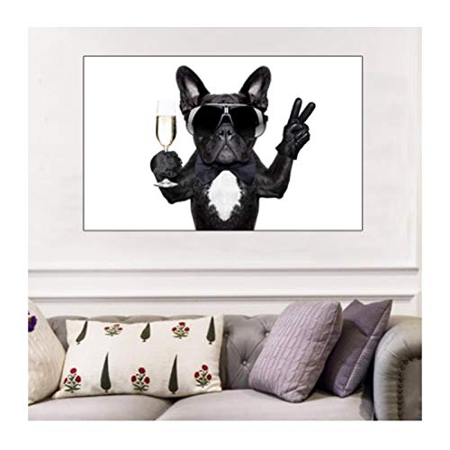 Impresión en lienzo Bulldog Gafas de sol para beber Arte mural Pintura en lienzo Póster de animales e impresiones Imagen de decoración moderna para el hogar 70x90cm / 27.5'x35.4' Sin marco
