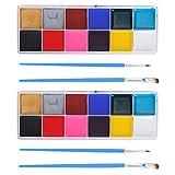 Kits de pintura facial Kit profesional de pintura facial 2 juegos de pintura facial, para niños, niños, niñas y niños, adultos, Navidad, Halloween, pintura corporal