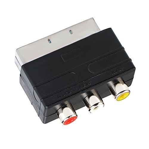 Scart Adapter | 2x Audio Cinch + 1x Video Cinch zu Scart | RCA Adapter | S-Video Chinch-Adapter Scart-Kabel Verteiler Y-Verteiler Umschalter AV Adapter Klinken-stecker-MOVOJA