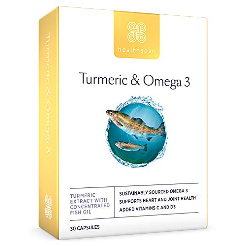 Turmeric & Omega 3 | Healthspan | 30 Capsules | Added Vitamin C & Vitamin D3 | Heart, Joint & Bone Health | Sustainably Sourced