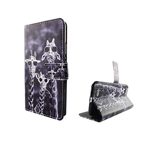 König Design Handyhülle Kompatibel mit ZTE Blade V6 Handytasche Schutzhülle Tasche Flip Hülle mit Kreditkartenfächern - Lustige Giraffen