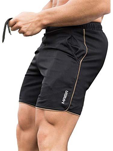Achinel Pantalones cortos para correr para hombre, de secado rápido, para gimnasio, entrenamiento, fitness, correr, pantalones cortos de entrenamiento al aire libre, Negro y dorado., 46