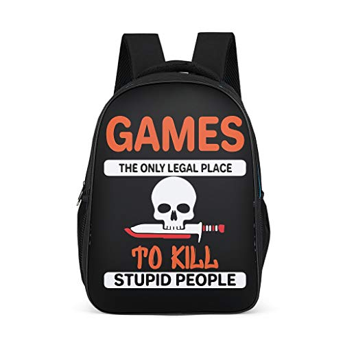Casual Funny Gamer Kids Backpack Mulit Compartments - Casual Daypack for Grils Bright Gray OneSize