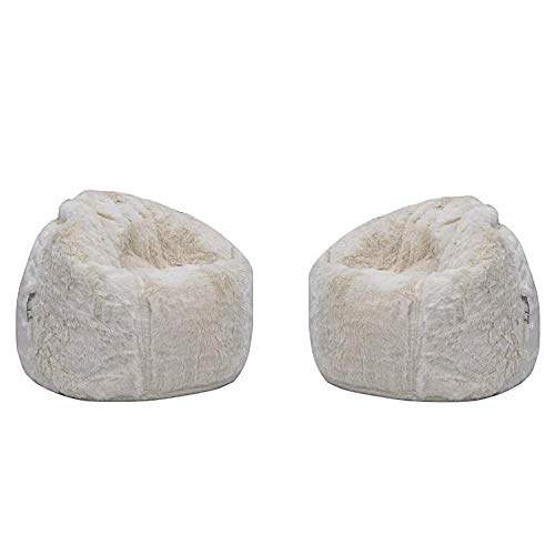 Snow Color Faux Fur Bean Bag Chair Set of 2