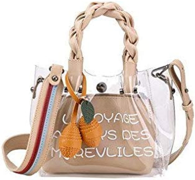 Bloomerang Summer Women Shoulder Bags New Trend PVC Transparent Fashion Mini Handbag Tote Portable Composite Crossbody Bag for Ladies color Khaki