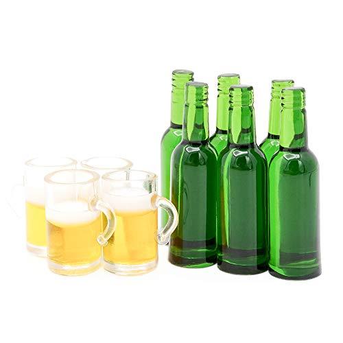Odoria 1/12 Miniatur 6 Stück Bierflaschen und 4 Stück Krüge Puppenhaus Küche Zubehör