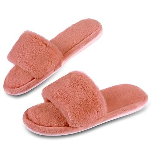 Menore Damen Hausschuhe Plüsch Fell Latschen Gemütliche Flauschige Memory Foam Pantoffeln Kunstpelz Open Toe Flache rutschfeste Sandalen Frauen Bequeme Schlappen Fur Slides 37-38 Wassermelonen Rot