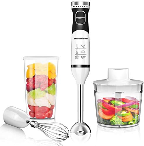Bonsenkitchen 225W Turbo 9 Speed Immersion Hand Blender Handheld Energy Saving, Stick Blender with Whisk, Chopper/Grinder Bowl, Mearsuring Mug Attachment, Emulsion Mixer For Smoothies, Purée, Sauce