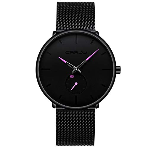 Mens Watches Ultra-Thin Minimalist Waterproof-Fashion Wrist Watch for Men Unisex Dress with Stainless Steel Mesh Band-Purple Hands