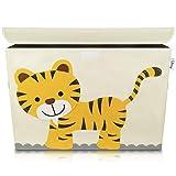 Lifeney Aufbewahrungsbox Kinder 51 x 36 x 36 cm I Kiste mit Deckel für Kinderzimmer I Aufbewahrungsbox mit Deckel für Kindersachen I Boxen Aufbewahrung mit Tiermuster I Spielzeug Aufbewahrung (Tiger)
