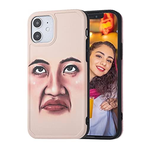 Reaky Funda para iPhone 12 y 12pro Rosa Funny Face Expression Funda de silicona para teléfono Funda protectora Funda protectora Antiarañazos Funda protectora para teléfono a prueba de golpes