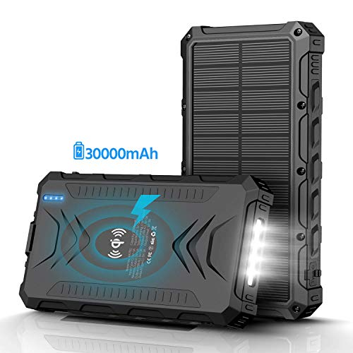 Solar Power Bank 30000mAh, Solar Charger, Qi Wireless Charger, Outputs 5V/3A High-Speed & 2 Inputs Huge Capacity Phone Charger for Smartphones, IP66 Rating, Strong Light LED Flashlights (Black)