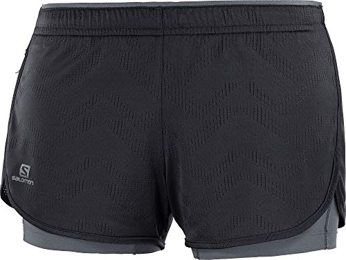 Salomon Damen 2-in-1 Lauf-Shorts, AGILE 2IN1, Polyester, schwarz (black/ebony), Größe: M, LC1273500