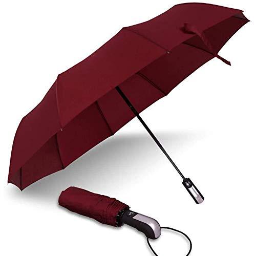 GLX Plegable Paraguas Paraguas De Bolsillo 10K Automática Cortavientos para Los Hombres Y Las Mujeres Se Extiende La Zona De Negocios con El Paraguas Multicolor Bolsillo Opcional En Negro,Rojo