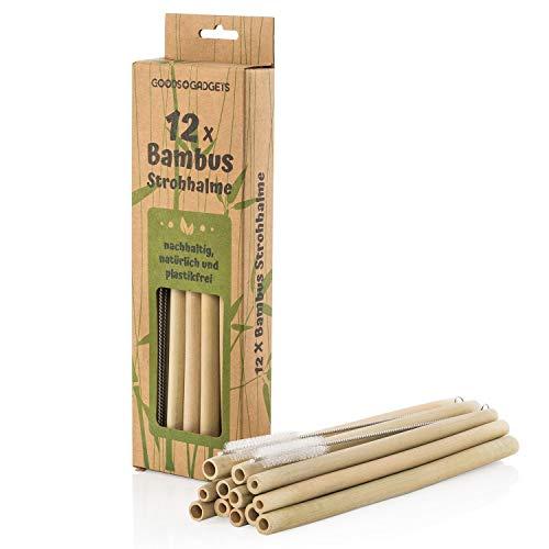 Goods & Gadgets Bambus Strohhalme wiederverwendbar - 12 Stück Set Trinkhalme Bio-logisch mit Reinigungsbürste