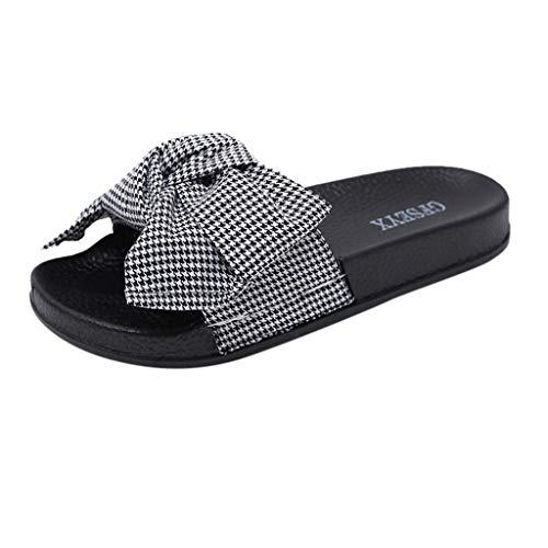 PinkLu Sandalen Damenschuhe schwarz und weiß kariert Schlappen Schleife Sandalen Flache Pantoffeln Matte Strandschuhe Feste Sommerschuhe Plateau römersandalen