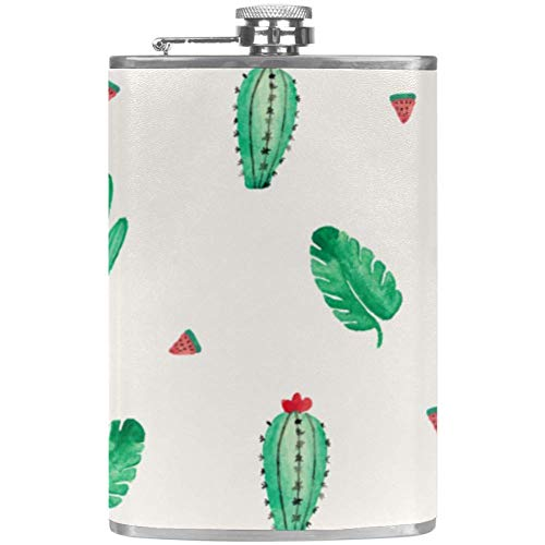 TIZORAX Potted Cactus en Prickly Pear RVS Hip Flasks Pocket Wijn Flagon Mok met Lederen Cover voor Mannen Vrouwen, 227ml 9.2x15cm/3.6x6in Pattern 6