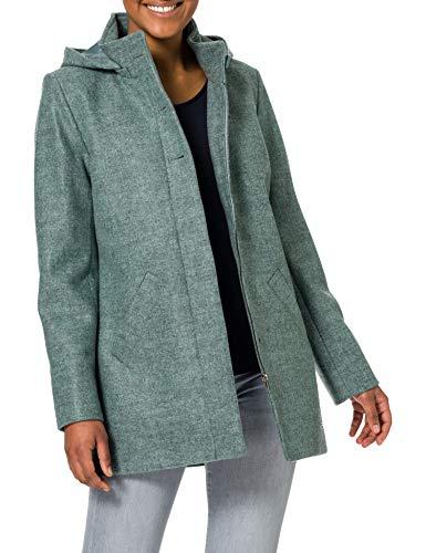 GINA LAURA Damski krótki płaszcz, wygląd wełny, kaptur odpinany płaszcz wełniany