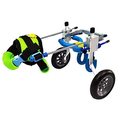 Silla de ruedas para mascotas para patas traseras, 1,5 kg (3,3 lb) - 50 kg (110 lb), ajuste multidireccional, dos ruedas, adecuada para perros grandes y pequeños, gatos y otros animales rehabilitación