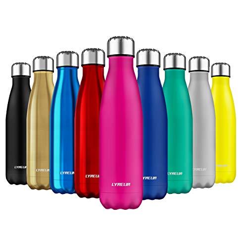 Lyneun Edelstahl Trinkflasche 500ml, Doppelwandige Wasserflasche Vakuum Isolierte ThermosflascheThermosflasche BPA Frei für Kinder, Schule, Sport, Outdoor, Fahrrad, Fitness, Camping