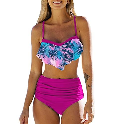 Bilbull Genorsk Women's Ruffle Hanging Neck halter Sexy Split High Waist Bikini Swimsuit Traje de baño Mujer Volantes Cuello de ganchillo Traje de baño de verano rosa L