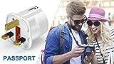VGUARD UK Adapter Reiseadapter, 3 Pack England Deutschland Stecker, Stromadapter Reisestecker Schuko EU zu UK Steckdose- Weiß - 7