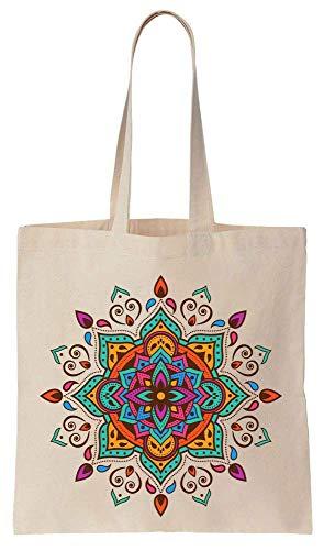 Finest Prints Creative Bright Colorful Mandala Art Cotton Canvas Tote Bag