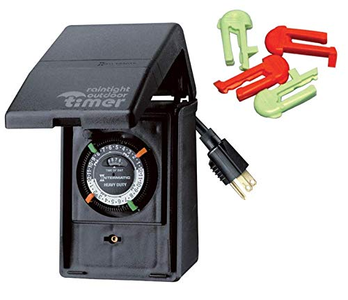 Intermatic P1121 Heavy Duty Outdoor Timer 15 Amp - with Extra Replacement Tripper (2 Red & 2 Green)