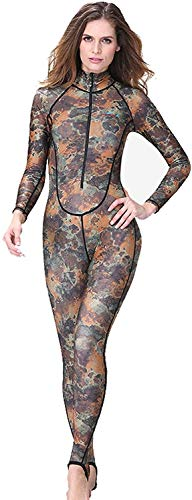 Fashion Camouflage Wetsuit for Women with Front Zipper, Full Body Winter Diving Suits One Piece UV Protection Swimwear for Diving Surfing Snorkeling