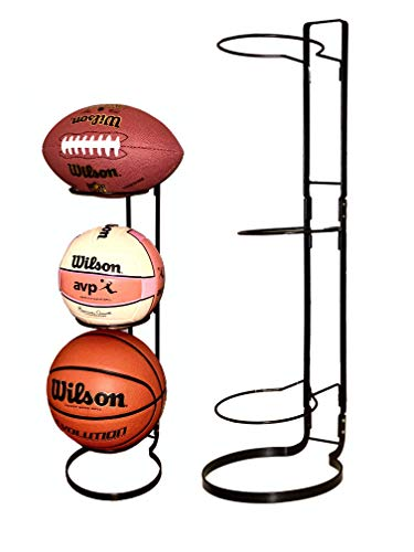 Sports Ball Storage Rack for Basketball Football Soccer Volleyball - 3-Tier Ball Holder Organizer for Garage Dorm or Bedroom | Sturdy Metal Basketball Rack to Display Any Sports Ball | Ball Organizer