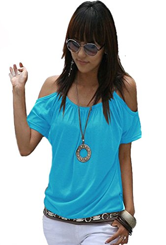 Mississhop Japan Style Damen Top T - Shirt Bluse Longshirt Tunika Tanktop Oberteil NATA türkis M