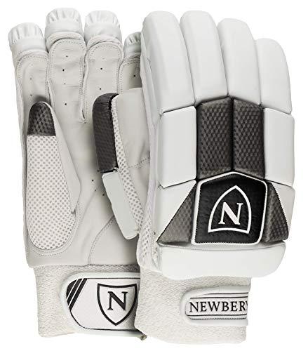 Newbery N-Series Right-Handed Cricket Batting Gloves, Senior, White/Silver