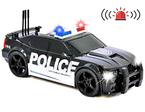 Number 1 in Gadgets Friction Powered Police Car Toy Rescue Vehicle with Lights and Siren Sounds for Boys Toddlers and Kids, Pull Back 1:20 Diecast Emergency Transport Vehicle Car