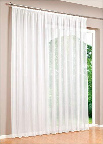 Haus und Deko Gardine Kräuselband Emotion weiß transparent 500 x 175 cm Organza Vorhang klassisch kurz mittel oder lang Voile Store