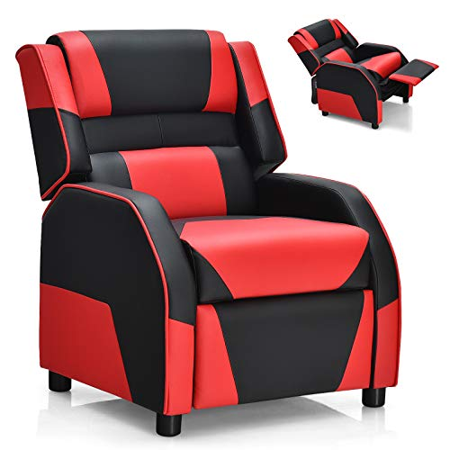 Costzon Kids Recliner, Gaming Recliner Chair w/Footrest, Headrest & Lumbar Support, Ergonomic Leather Lounge Chair for Living & Gaming Room, Adjustable Racing Style Sofa for Children Boys Girls, Red