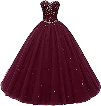 Likedpage Women s Sweetheart Ball Gown Tulle Quinceanera Dresses Prom Dress  US10 Burgundy