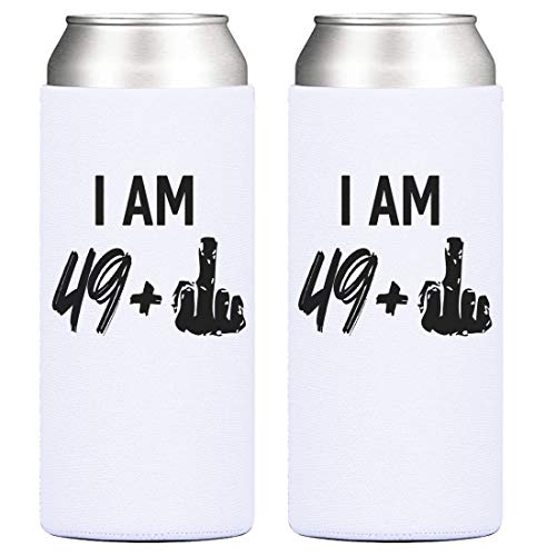 50th Birthday Party Cooler- 49 + 1 Middle Finger, 12 oz Slim Can Cooler, Gifts for Women Turning Fifty, Cheers to 50 Years – Set of 2