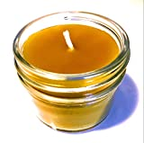 Beeswax Jar Candle - 4oz - 100% Pure Bees Wax in Glass Container...