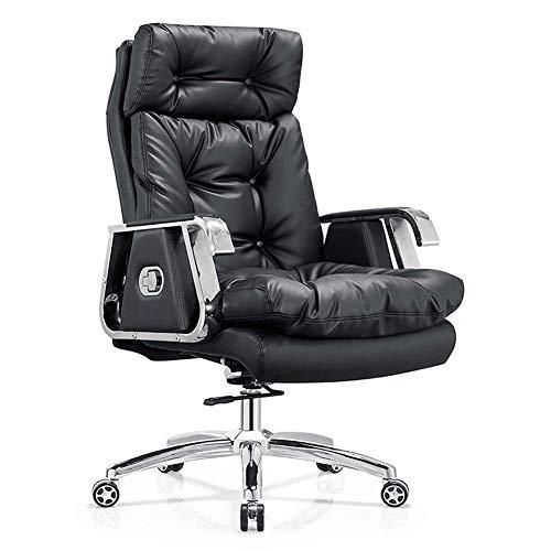 Leder-Computerstuhl, Chefsessel, mit Kopfschicht, Leder, drehbar