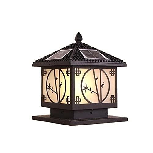 ZSMLB Lámparas de Pared para Exteriores Columna de luz LED Solar Puerta Porche Pilar de Piedra Lámpara de Columna Retro Caja de Aluminio Negro Valla Lujosa colección Colonial contemporánea Exterio
