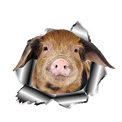 LGDQ Auto-Aufkleber 13 cm X 11,2 cm Niedliche Schwein Auto Aufkleber Zerrissen Metall Auto Fenster Autoaufkleber Tier Aufkleber Lustige 3D